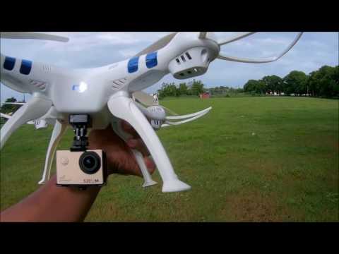 syma X8G o syma X8HG con cámara sjcam sj4000+ instalación y vuelo