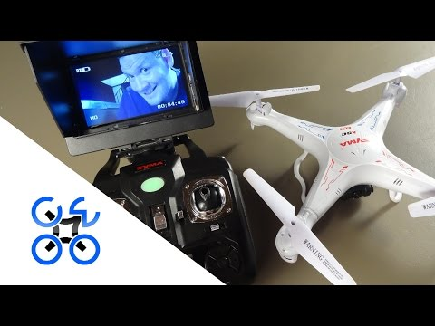 Syma X5C-1 with FPV gear attached.